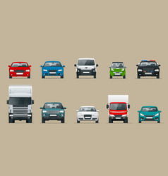 Car front view set vehicles driving in city vector