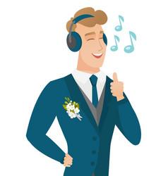 Caucasiangroom listening to music in headphones vector