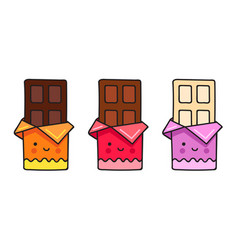 chocolate bar cute cartoon comic character vector image