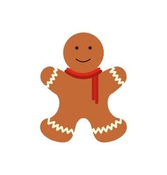 Christmas gingerbread man flat icon vector image
