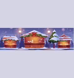 christmas market stalls winter street fair booths vector image