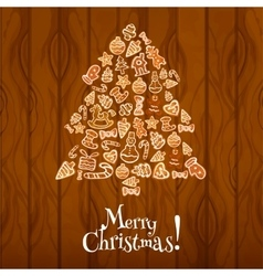 Christmas tree greeting card design vector image