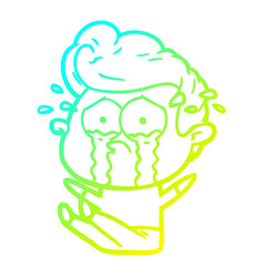 Cold gradient line drawing cartoon crying man sat vector