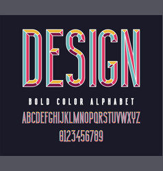 Colorful condensed bold font vector