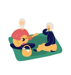 couple cute elderly people having picnic vector image