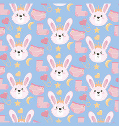 Cute rabbit head with sock and diaper background vector
