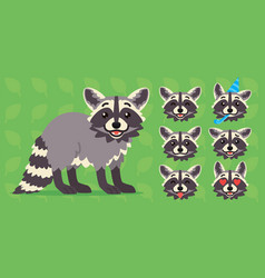 Cute raccoon standing of vector