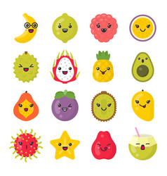 cute smiling exotic fruits isolated colorful vector image