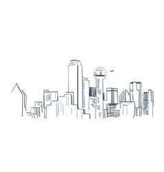 Dallas city sketch landscape line skyline vector