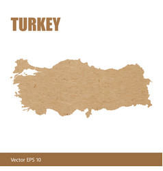 detailed map of turkey cut out of craft paper vector image