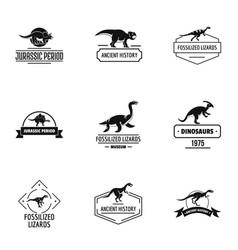 dino logo set simple style vector image
