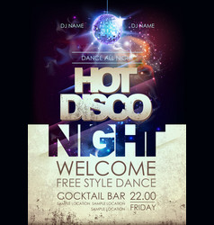 Disco ball background hot disco night party vector
