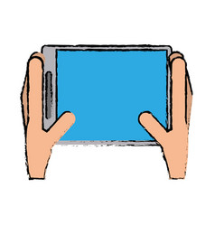 Drawing hands holds tablet touchscreen trendy vector