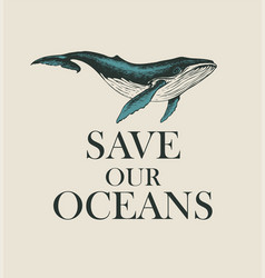 Eco poster concept with a big hand-drawn whale vector