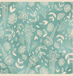 Ecru mint spring flowers seamless pattern vector
