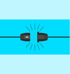 Electric plug icon in shape on a blue background vector