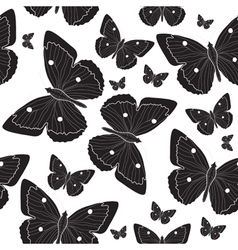 Elegant black butterfly seamless pattern sketch vector image