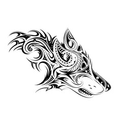 Elegant tattoo of the wolf vector