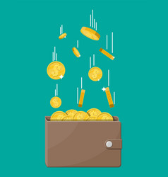 falling gold coins and leather wallet vector image