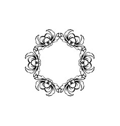 floral vintage circle frame isolated on vector image