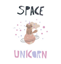 Funny poster with a cat unicorn in space vector
