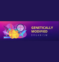 Genetically modified organism concept banner vector
