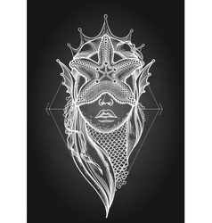 Graphic mermaid head vector image