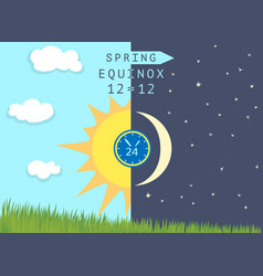 half sun and half moon over growing wheat germs vector image