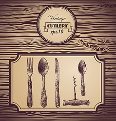Hand painted tableware vintage background vector
