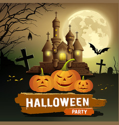 happy halloween party message pumpkin bat vector image
