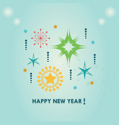 happy new year stars ornaments set on blue vector image
