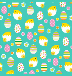 Hatching easter chicks and eggs pattern vector