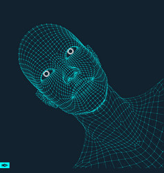 head person from a 3d grid geometric face vector image