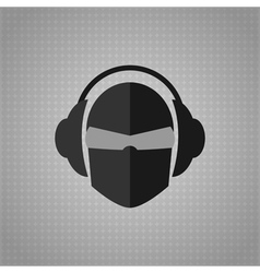 Head with glasses and headphones copy vector image
