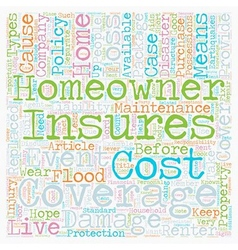 Homeowners Insurance text background wordcloud vector