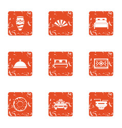 Hotel room icons set grunge style vector