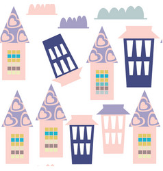 houses seamless pattern it is located in swatch vector image