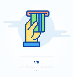 inserting of credit card in slot of atm vector image