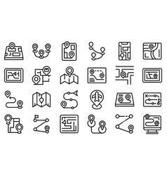 Itinerary icons set outline style vector