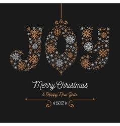 Joy lettering snowflakes merry christmas happy vector