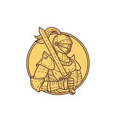 Knight sword on shoulder circle mono line vector