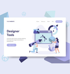 Landing page template of 3d designer tools vector