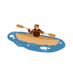 Male eskimo in traditional warm clothes floating vector