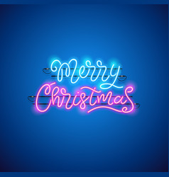 merry christmas blue pink neon sign vector image