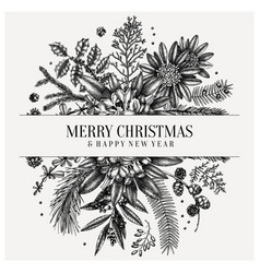 merry christmas greeting card or invitation vector image