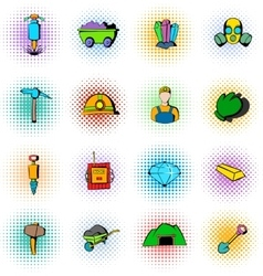 Mining industry icons set comics style vector image