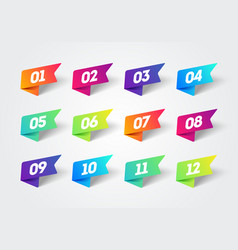Number bullet point 1 to 12 colorful label ribbons vector