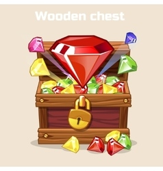 Opened antique treasure chest with diamonds vector