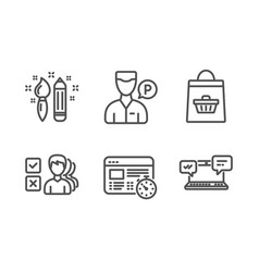 Opinion creativity and online buying icons set vector