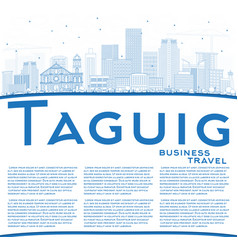 Outline taguig philippines city skyline with blue vector